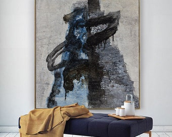 Abstract Painting, Contemporary Art, Hand Paint Large Wall Art Extra Large Wall Art Landscape 0il Painting, Black And White Large Canvas Art