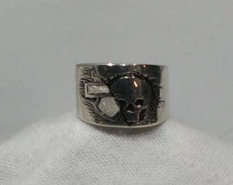 Love SKULLS..  Hand Engraved Silver Skull Biker Ring