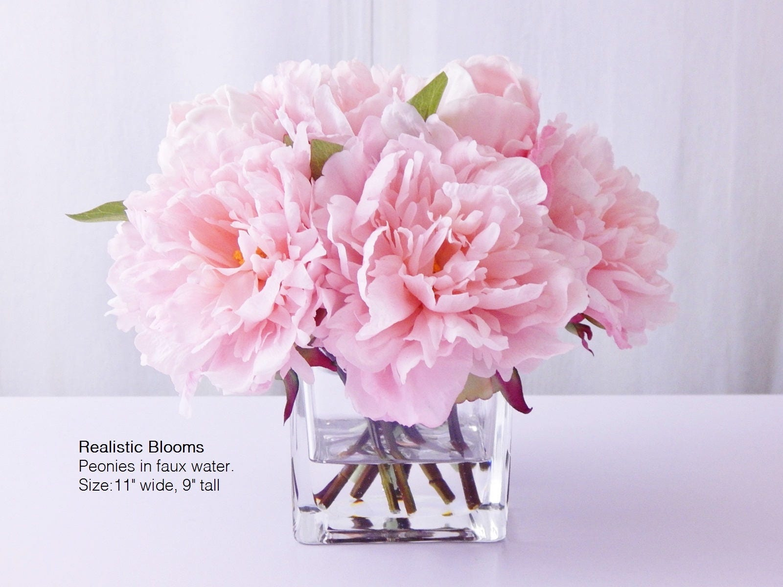Light pinkblush silk peonypeonies glass vase faux water light pinkblush silk peonypeonies glass vase faux water acrylicillusion real touch flowers floral arrangement centerpiece gift reviewsmspy