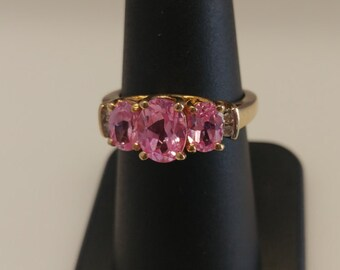 Three Stone Pink Ice Ring