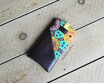 Phone Sleeve, Phone Pouch, Phone Cover, Chocolate Brown Vinyl and Bright Cotton, Gift for Her, Birthday Gift, Gift for Girls
