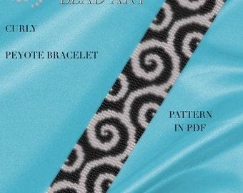 Pattern, peyote bracelet - Curly peyote bracelet cuff pattern in PDF instant download