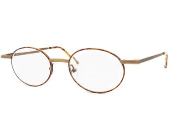 Oval eyewear Aged golden and tortoise EMPIRE mod. OL 1-4030 - 4 // Vintage 1980s eyeglasses oval front