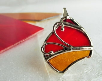 Necklace yellow and red stained glass