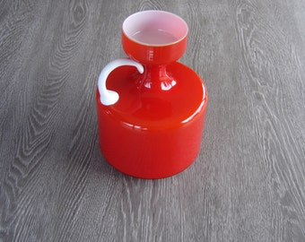 Cruche vase verre 70's. Red glass jug vintage. France
