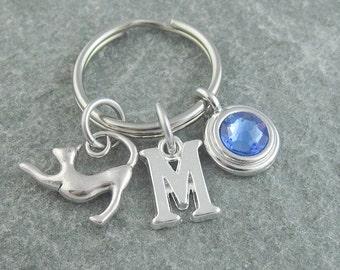 Cat keychain, cat keyring, cat lover gift, initial keychain, birthstone keychain, personalized keyring, custom keychain, monogram keychain