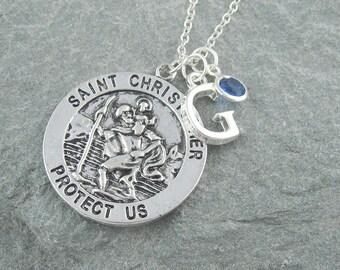 St Christopher necklace, initial necklace, personalized jewelry, swarovski birthstone, protection jewelry, travel gift, patron saint