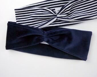 Navy Headband / Ear warmers / Gift For Her / Winter Headband / Organic cotton headband / Navy blue headband / Velvet headband / Ear warmer