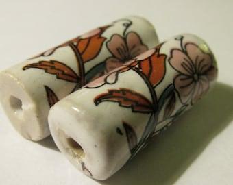 "Vintage Hand Painted Boho Floral Ceramic Cylinderical Bead, 1 1/4"", Set of 2"