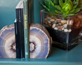 Agate Bookend Set - Blue or Natural Bookends - Geode Bookends