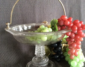 Antique EAPG pedestal grape stand fruit platter Early American pressed glass Victorian serving dish