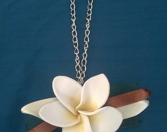 Necklace with tapes, Plumeria and plumeria necklace