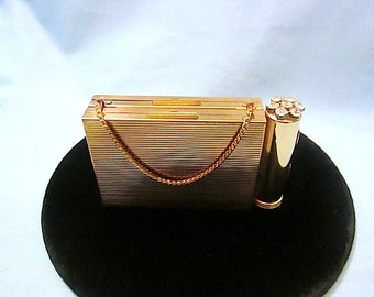 Vintage ZELL Fifth Avenue Double Compact with Holder and Decorative Lipstick Tube - 1940s-50s