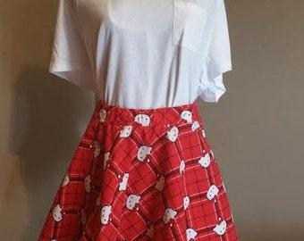 Hello Kitty Plaid Circle Skirt
