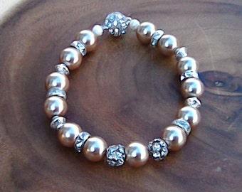 Swarovski Inspired Peach Pearls and Rhinestones Bracelet