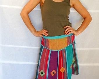 Bohemian Patchwork Summer skirt women womens cotton skirt boho summer skirt a-line skirt knee length hippie skirt Vintage size medium