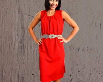 Womens summer dress midi red dress sleeveless dress crimplene polyester dress size M Medium vintage 1990s 90s