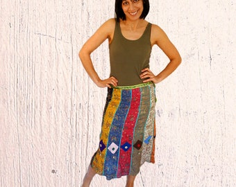 Bohemian skirt midi womens summer Batik skirt patchwork womens skirt boho summer skirt hippie skirt Vintage size US 8-10 RARE