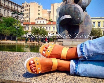 Open Toe Sandals, Flat Sandals, Summer Shoes, Made in Greece from 100% Genuine Leather by Christina Christi Jewels.