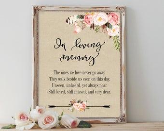In Loving Memory Sign Printable Wedding Memorial Sign Floral Wedding Memory Sign Boho Memorial Sign Reception Signage Wedding Decor