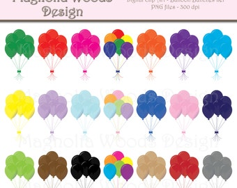 Balloon Clip Art, Birthday Clip Art, Party Clip Art, Balloon PNG, Digital Balloons, Small Commercial Clip Art, Balloon Bunch Clip Art