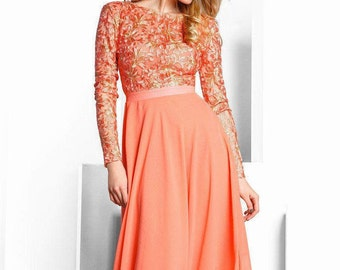 Peach Holiday Dress chiffon Prom Dress Cocktail Dress long sleeve Party dress lace Evening dress Maxi dress Floor length dress Long Dress