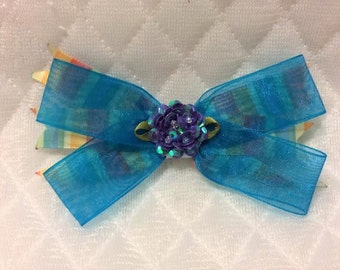 Hair bow. Hair clip. Organza hair bow. Blue hair clip for girl. Hair tie for girl