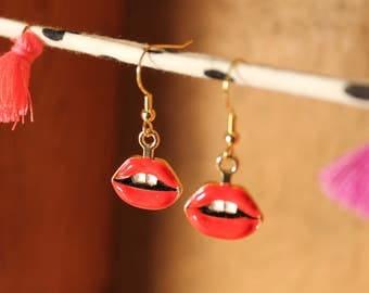 Red Lip Earrings, Red Lips, Red Lipstick 80s Earrings, Teeth, Lips Earrings, Miley Cyrus Earrings, Mouth Earrings, Rollings Stones