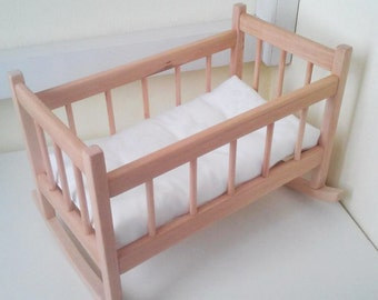 "Wooden rocking crib and doll bedding, 15""/38cm wooden doll crib, doll bedding, doll mattress, doll cradle, doll cradle bedding, rocking crib"