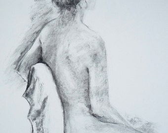 Life Drawing  #7, Original Charcoal Artwork