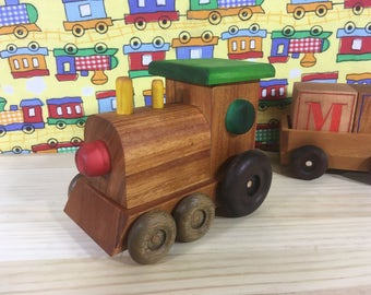 Wooden Train with Blocks. Large handmade train, suitable for all ages.