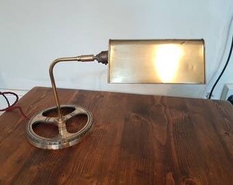 Vintage copper and brass industrial desk lamp: rewired