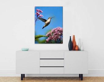 Large Wall Art Canvas, Hummingbird Canvas Print, Stretched Canvas Print, 24x36 Canvas Wall Art, Hummingbird Art, Humming Bird Wall Hanging