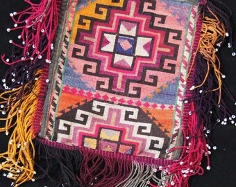 Ethnic Pashtun Afghan Silk Needlepoint Embroidery Pouch Bag T 597