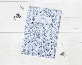 Floral A5 Lined Notebook - Spring Stationery - Stapled Notebook