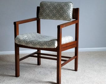Cubist Style Accent Chair - Walnut Frame, New Upholstery