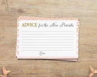 Advice for the New Parents, Parents to be Advice Cards, Printable Parents Advice, Baby Couples Shower Activity, Blush Pink Gold, GP Download
