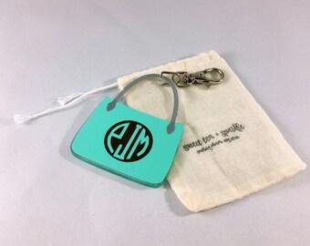Monogram Purse Acrylic Keychain//Fashionista Gift//Monogram Keychain//Personalized Gift