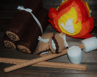 Felt Campfire Play Set - Camping Toy - Felt Food Set - Birthday Gift for Kids - Smores - Roasted Marshmallow S'mores - Play Fire Camping Set