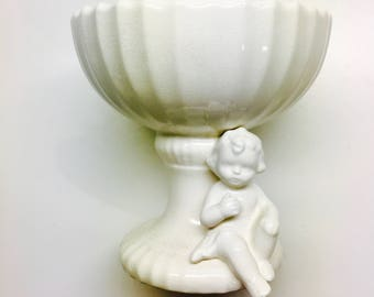 Lefton Cherub Candlestick, Lefton Candle Holders, Lefton Porcelain, Ivory Colored China