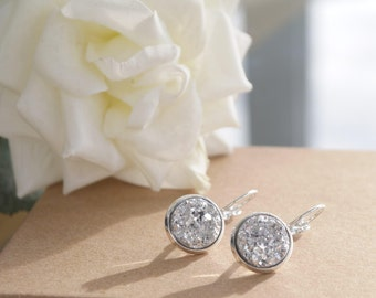 Silver Druzy | Silver Plated | Drop Earrings