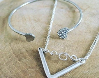 Set ring + Necklace Bracelet Silver V