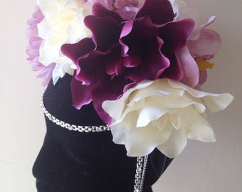 Purple diamond flower crown