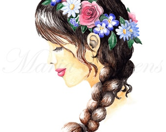 Flower Crown Fashion Illustration Watercolor Giclee Art Print, 8x10 Decor, Spring Decor, Spring Gifts, Gifts For Her