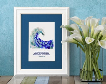 """Sea Glass Crashing Wave Wyland Matted Print - 8x10"""" mat with 5x7"""" Seaglass Mosaic Print of a Wave with a Quote by Robert Wyland"""