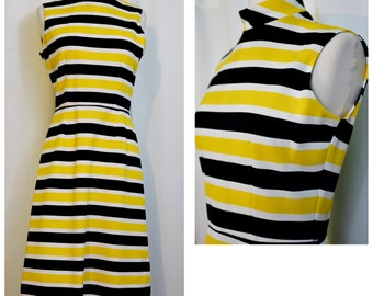 Yellow, Black, and White Striped Mod 60s Dress