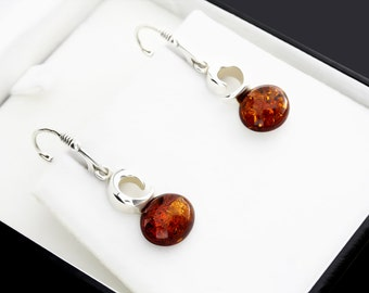 Sterling 925 Silver And Amber Earrings, Baltic Amber Jewellery, Dangle Earrings, Silver Earrings, Dangle, Drop, Simple Amber Earrings