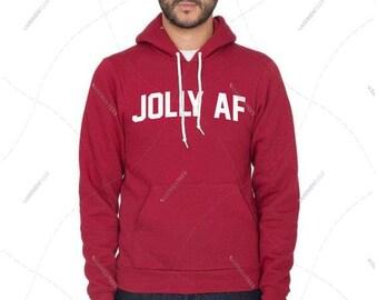 "Unisex - Men/Women - Premium Retail Fit ""Jolly AF"" American Apparel Flex Fleece Drop Shoulder Pullover Hoodie"