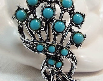 Vintage / Silver and Turquoise Cabochon Flower Spray Brooch / Pin