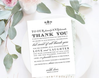 Wedding Thank You Letter / Wedding Thank You Note, Printable Thank You, Wedding Thank You - Formal